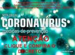 Notícia: CORONAVÍRUS: DECRETOS ESTABELECEM MEDIDAS DE PREVENÇÃO