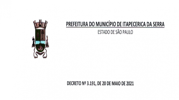 Notícia: DECRETO Nº 3.191, DE 20 DE MAIO DE 2021